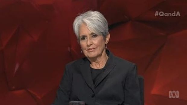 Calm, graceful and polite .... Singer and social activist Joan Baez won the night on Q&A with great insights and a ...