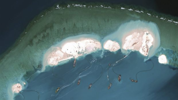 Chinese dredgers working in the Spratly Islands in the South China Sea.