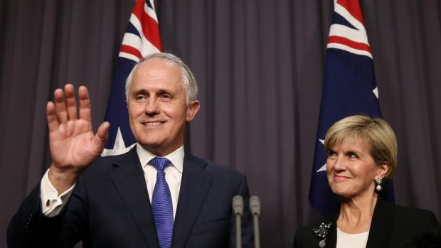 Malcolm Turnbull was accompanied by his deputy Julie Bishop (pictured) and wife Lucy, having just delivered his first ...