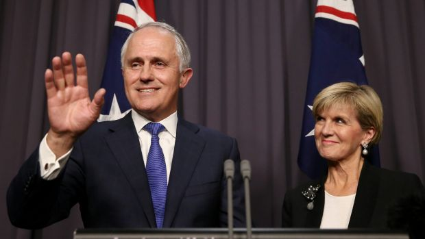 Malcolm Turnbull and his deputy Julie Bishop, at his first press conference as Prime Minister.