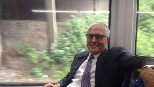 Rail loving Prime Minister Malcolm Turnbull has taken the train across Sydney ... again.