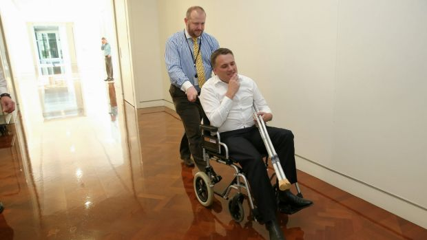 Mr Briggs, pictured the day after Tony Abbott lost the prime ministership, injured his knee at a party hosted by the ...