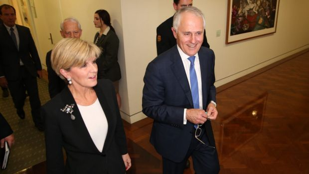 Prime Minister Malcom Turnbull and Deputy Liberal Leader Julie Bishop after the leadership ballot at the Party Room in ...