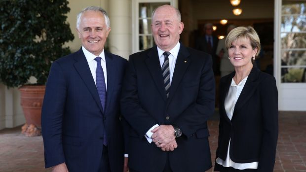 Malcolm Turnbull with the Governor-General Sir Peter Cosgrove and Deputy Liberal Leader Julie Bishop after he was was ...
