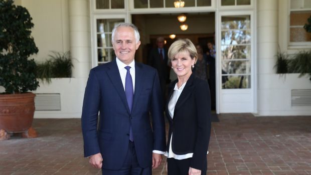 Malcolm Turnbull Julie BIshop at Government House on Tuesday.