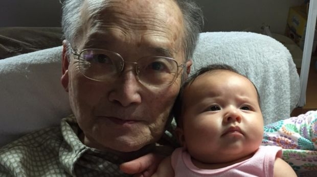 Wang Chunming, 91, with grandaughter Isla Turnbull, born in May. Isla is the daughter of Alex Turnbull and Yvonne Wang, ...