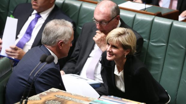Prime Minister Malcolm Turnbull and Foreign Affairs Minister Julie Bishop during question time on Tuesday.