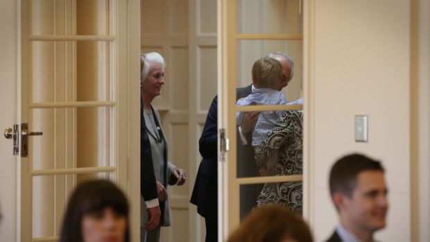 Malcolm Turnbull kisses his grandson,  Jack,  moments before he was sworn in as Prime Minister at Government House on ...