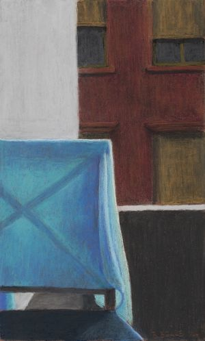 Roger Beale's <i>Studio Balcony with Blue Shawl</i> in <i>Distant Voices</i> at M16 Artspace.