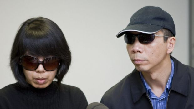 Robert Xie and Kathy Lin during their 2009 public appeal to find the Lin family killers.
