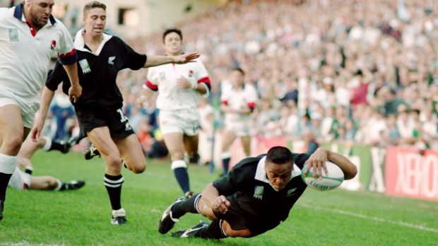 Rugby superstar: All Blacks winger Jonah Lomu dominated at the 1995 World Cup tournament.