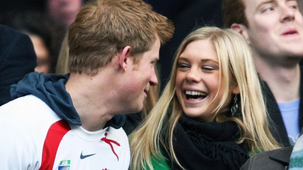 Between splits: Prince Harry and Chelsy Davy at a rugby match at Twickenham in 2008.