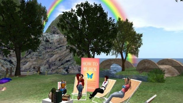 Groups of users hold book club meetings on the virtual campus.