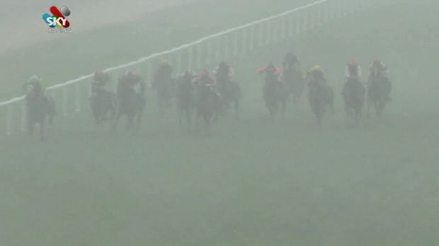 Low visibility: A freak hailstorm played havoc with the fourth race at Grafton on Thursday.