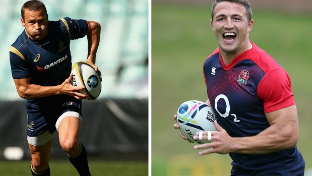 Two stars: Australia's Matt Giteau and England's Sam Burgess