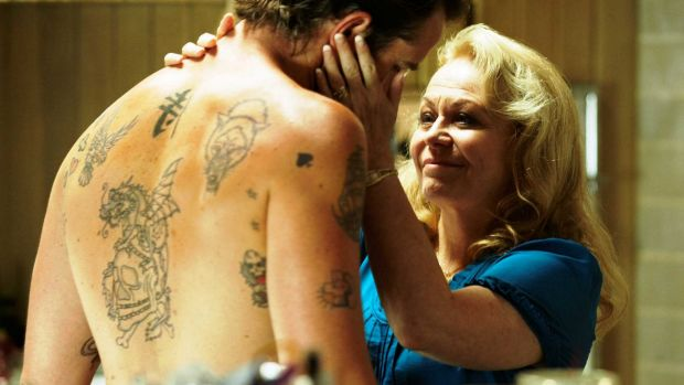 Jacki Weaver as Janine 'Smurf' Cody (with Sullivan Stapleton as Craig Cody) in David Michod's Animal Kingdom.