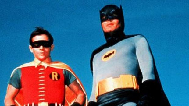 Wholly mythic personas: Burt Ward, left, and Adam West as TV's original Batman and Robin.