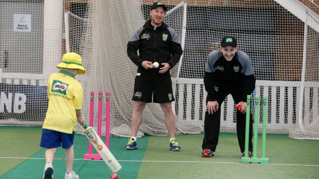 Next generation: Brad Haddin and Peter Nevill pass on their tips.