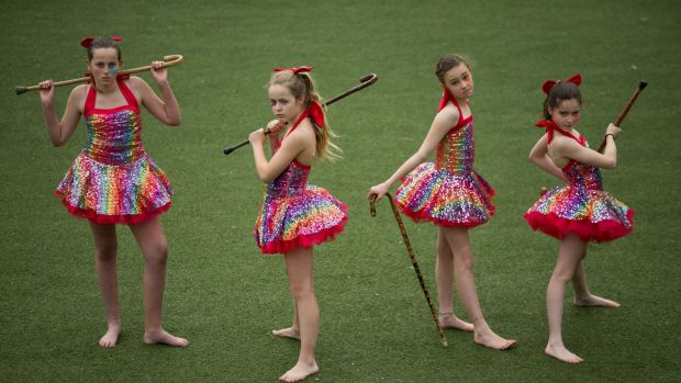 Tessa, Lulu, Ruby and Sylvie (left to right), who are taking part in Rainbow Leprechaun, a show presented by artists' ...