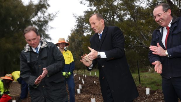 Tony Abbott, Greg Hunt and former MP Peter Hendy at a Green Army project site this year.