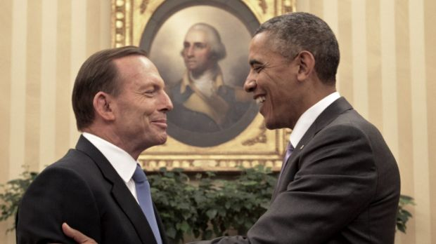 Tony Abbott, meets with Barack Obama in the Oval Office while prime minister in 2014.