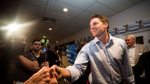 Andrew Hastie accepts congratulations for his Canning byelection win.
