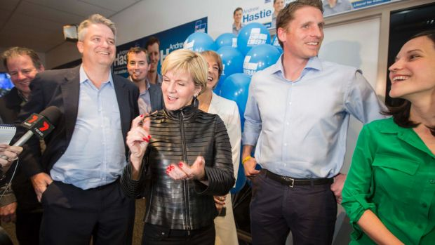 Mathias Cormann, Julie Bishop and Andrew Hastie celebrating Liberal victory in Canning.