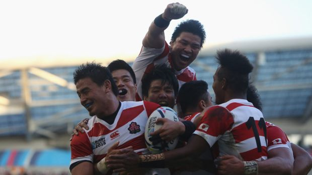 Upset:  Ayumu Goromaru of Japan celebrates scoring his team's second try during the match against South Africa.