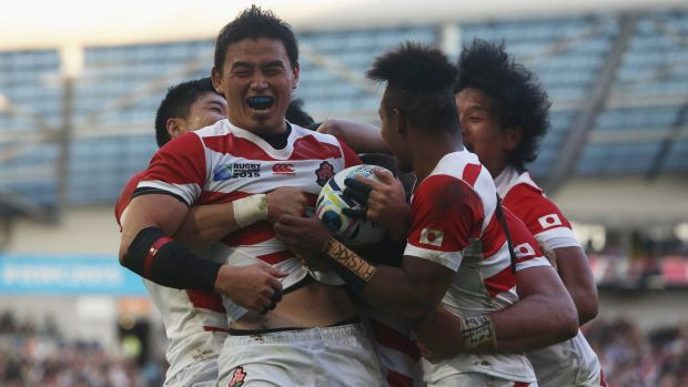 Popular win: Japan's Ayumu Goromaru celebrates during his team's astounding World Cup win over South Africa.