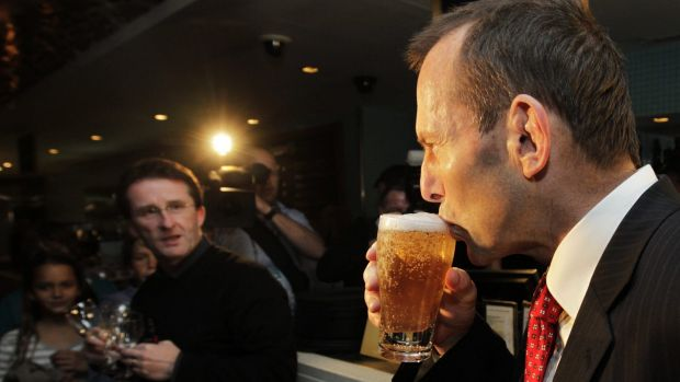 Tony Abbott enjoys an unknown beer brand during his time as opposition leader.