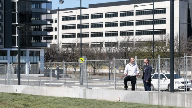 Chief Minister Andrew Barr and SHL Development CEO Terry Shaw look at the landscaping work at the Campbell 5 development ...
