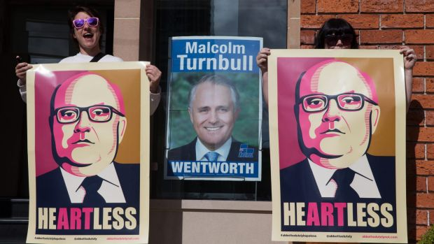 Artists outside Prime Minister Malcolm Turnbull's Edgecliff office will be happy George Brandis is no longer the Arts ...