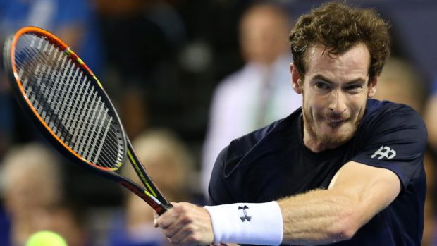 Andy Murray is all grim concentration during his Davis Cup singles match against Bernard Tomic on Sunday.