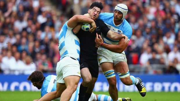 Dogged determination: Former Canterbury under-20s player Nehe Milner-Skudder hits the ball up for the All Blacks against ...