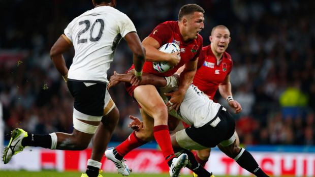 Rabbitoh on the rampage: Former South Sydney forward Sam Burgess played strongly for England against Fiji.