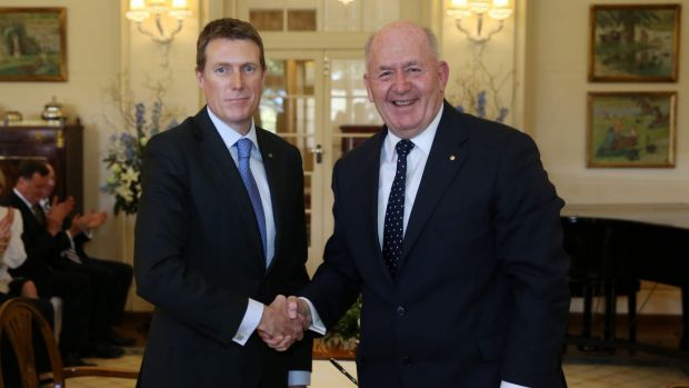 Christian Porter is sworn in as Minister for Social Services by Governor-General Sir Peter Cosgrove at Government House ...
