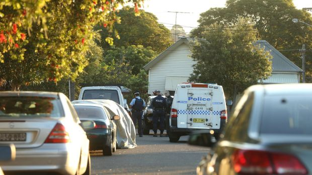 Police attend Mr Nguyen's home on Fitzroy Street in Campsie.