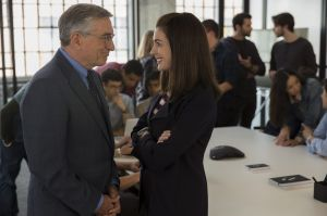 Robert De Niro and Anne Hathaway in the film <i>The Intern</i>.