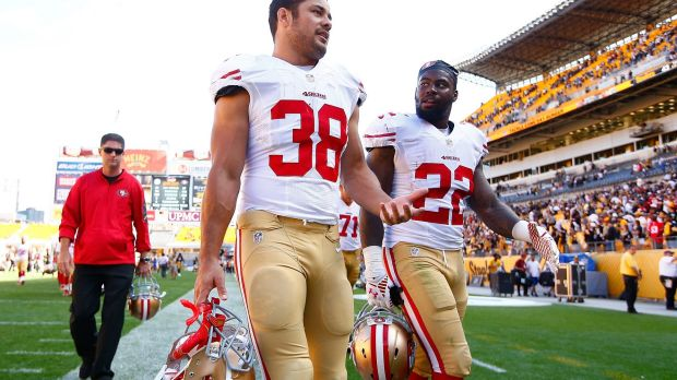 Rivals: Jarryd Hayne and Mike Davis.