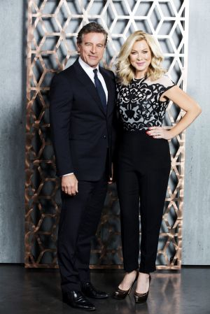 Hosts Mark Bouris and Kerri-Anne Kennerley on the show <i>Celebrity Apprentice</i>.