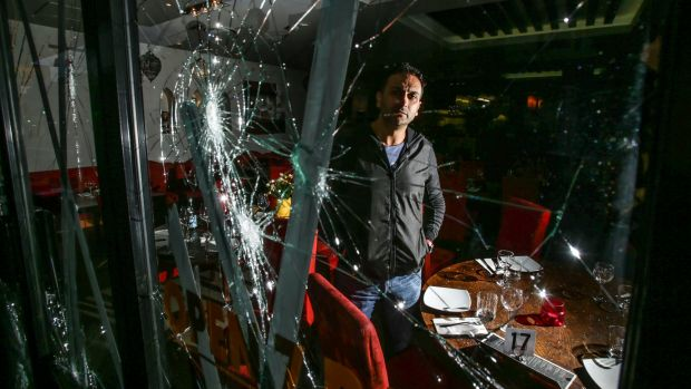 Mohamed Zouhour at his restaurant Arabella after the vandalism attack.