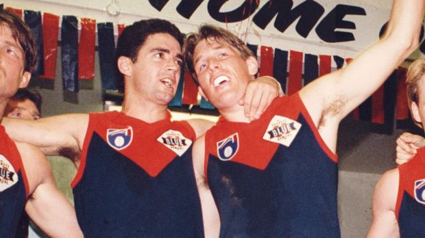 Garry Lyon and David Schwarz in their playing days at Melbourne.