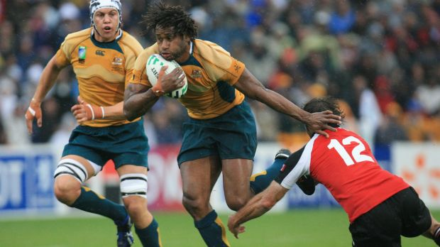 Wallaby gold: Lote Tuqiri on the run for Australia versus Canada at Bordeaux  in the 2007 World Cup.