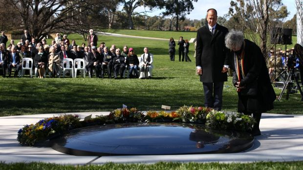 Shirley Shackleton and Peter Greste lay wreaths for war correspondents and their families at the dedication of the War ...