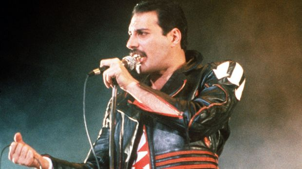 Singer Freddie Mercury of the rock group Queen, performing at a concert in Sydney in 1985.