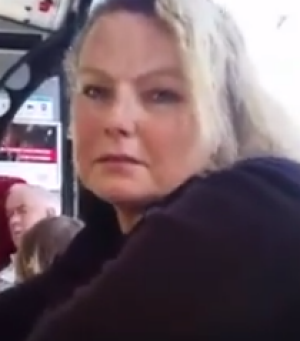 This woman allegedly hurled abuse at Lindsay Li on the bus.