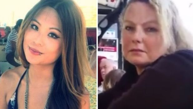 Lindsay Li (left) and the woman who has been arrested after a tirade on a Sydney bus.