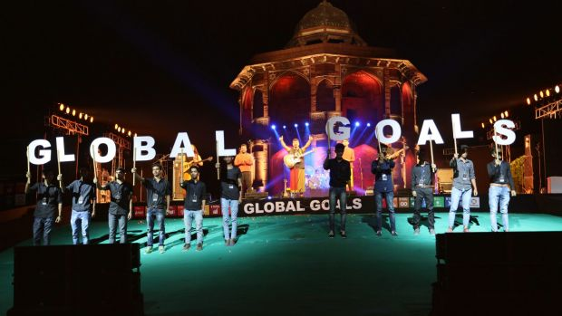 Global goals: A stage performance at the Delhi Action 2015 Global mobilisation event in September.