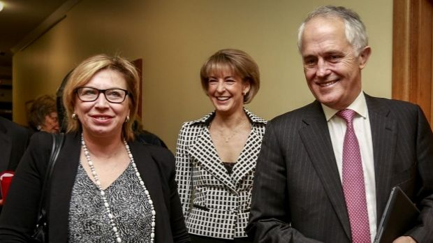 Prime Minister Malcolm Turnbull, pictured with domestic violence campaigner Rosie Patty and Minister for Women Michaelia ...