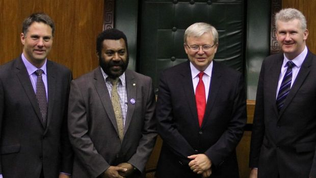 Richard Marles, former prime minister Kevin Rudd and Tony Burke established asylum seeker processing with Papua New ...